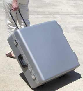 "10"" S&S Travel Case - Side pull with telescopic handle, Original style hard case (gray)"