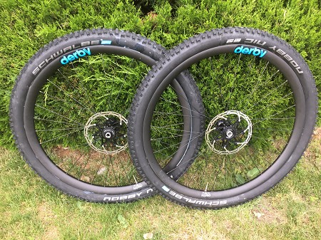 29er Derby/XT carbon wheels 12x142mm - New - with tires and rotors