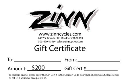 $200 Gift Certificate - Zinn Cycles Inc.